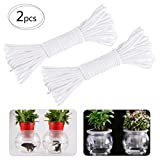 Alphatool Total 130ft Self Watering Wick Cord- 2Pcs 65 Feet Auto Drip Irrigation Waterer Rope String DIY Self-watering Automatic Water Wicking Hydroponic System Device for Vacation Potted Plant Sitter