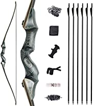 """Black Hunter Takedown Longbow and Arrow Set 60"""" Archery Adult Hunting Bow Traditional Wood Hunting Bows S"""