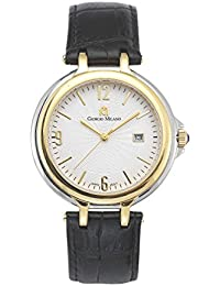 898STG022 Rene Two Tone IP Gold Textured Dial Black Genuine Leather Watch