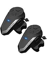 2x BT-S3 Bluetooth-Koptelefoons Motorfiets, BETOWEY 1000m Motorhelm Intercom Helm Headset met Ingebouwde FM-radio