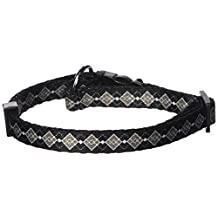 Dogit Style Argyle Small Adjustable Nylon Collar with Plastic Snap, 3/8-Inch by 10-Inch by 16-Inch, Gray