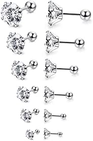 Thunaraz 6Pairs 18G/20G Stainless Steel Ear Stud Piercing Barbell Studs Earrings Round Cubic Zirconia Inlaid
