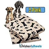 Whisker Wheels Washable Pee Pads for Dogs | 2-Pack Large (30x32) Leak Proof – Anti-Slip Waterproof & Super Absorbent – Comfortable Solution for whelping & pet Incontinence | Reusable