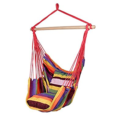 TMS Canvas Hanging Chair Outdoor Porch Swing Yard Tree Hammock Cotton Polyester,Multi-Color