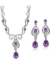 Purple Cubic Zirconia Teardrop Jewelry Set Necklace...