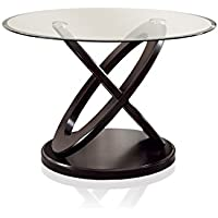 HOMES: Inside + Out IDF-3774T Cooper Dark Walnut Round Dining Table