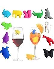 Oneroomone 12 stuks Wijnglas Markers, Siliconen Glas Markers, Dier Wijnglas Markers, voor Feesten, Cocktailuurtjes, Diners
