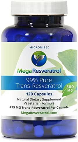 Mega Resveratrol, Pharmaceutical Grade, 99% Pure Micronized Trans-Resveratrol, 120 Vegetarian Capsules, 500 mg per Capsule. Purity Certified. Absolutely no excipients (aka Inactive Ingredients) Added