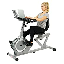 Sunny Health&Fitness SF-RBD4703 Recumbent Desk Exercise Bike with Adjustable Magnetic Resistance Belt Drive