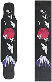Longboard Sandpaper Grip Tape Black PVC Skateboard Non-Slip Skateboard Accessories Red-Crowned Crane 25 * 119c