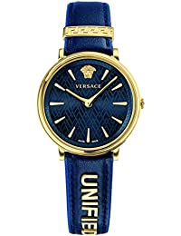 Women's 'MANIFESTO EDITION' Swiss Quartz Gold-Tone and Leather Casual Watch, Color:Blue (Model: VBP030017)