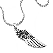 MENDINO Mens Womens Stainless Steel Pendant Necklace Feather Angel Wing Silver with 22 inch Chain