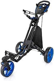 SereneLife 3 Wheel Golf Push Cart - Lightweight Folding Walking Push Cart Roller Golf Bag Holder w/Foot/Handle