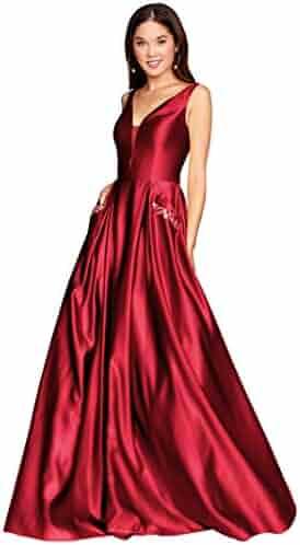 Zhongde Women s V Neck Open Back Beaded Satin Prom Dress Long Formal  Evening Gown with Pockets 65c189fd0