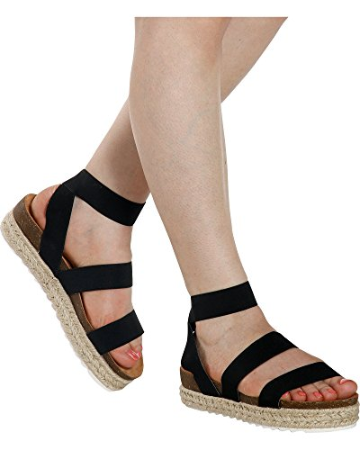 Nature Breeze Womens Casual Summer//Spring Open Toe Espadrille Wedge Sandals