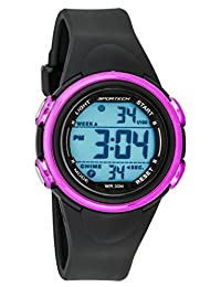 Unisex Watches by Sportech - Black and Mettallic Pink Digital Sport Watch - Make Every Second Count - SP11008
