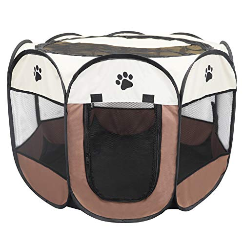 Portable Foldable Pet Dog Cat Playpen Crates Kennel Playpen Tent House Playground, Indoor and Outdoor Use, Brown and White
