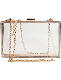 Women Cute Clear Acrylic Box Clutch Stadium Approved...