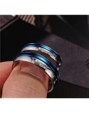 Tatanium Steel White and Blue Diamond Wedding Gift Couple Ring Set for Male us8 and Female us7 cr6-1