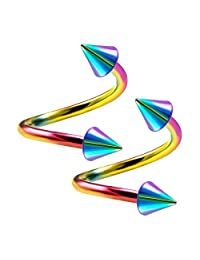 2PCS Stainless Steel Rainbow Twisted Barbell 14 Gauge 4mm Spike Eyebrow Lobe Earrings Cartilage Piercing Jewelry Choose Sizes