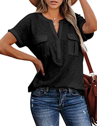 APRAW Womens Summer Casual Ribbed Shirts Tops Short Sleeves Split V Neck Loose Knit Blouses with Pockets Black