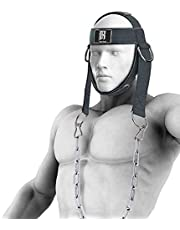 RIMSports Neck Harness for Weight Training - Neck Exercise Equipment for Neck Workout, Resistance Training and Weight Lifting - Adjustable Heavy Duty Head Harness with Steel Chain and Double D Rings
