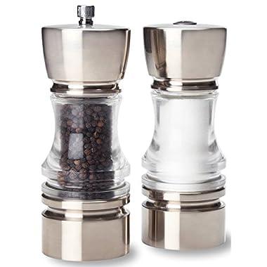 Olde Thompson Brushed Nickel Plated Crown-Pepper Mill & Salt Shaker Set, 7 , Clear