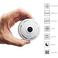 Esun 960P Panoramic WiFi HD Camera, Home Business Security IP Camera with Real Time 32ft Night View, ePTZ Function-360 Degree Coverage Without Any Blind Spot, Motion Detection E2 series(White)