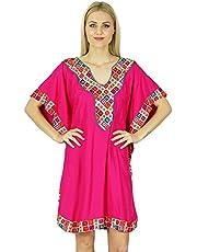 Bimba Women Short Rayon Kaftan Kimono Sleeve Caftan Boho Dress Coverup