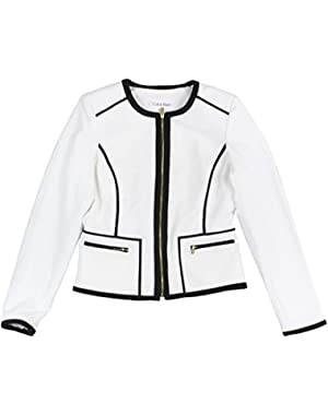 Calvin Klein Women's Petite Colorblock Zip Front Jacket