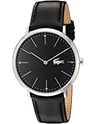 Lacoste Mens Quartz Stainless Steel and Leather Casual Watch, Color:Black (Model: 2010873)