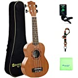 Ukulele Soprano 21 Inch, Mahogany Ukulele for Beginners Haiiwian Ukulele with Accessories Gig Bag, Strap, Tuner and Cleaning Cloth for Kids/Children/Student/Adult