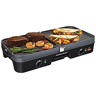 Hamilton Beach 798527530727 (38546) 3 in 1 Electric Smokeless Indoor Grill & Griddle Combo with Removable Plates, Medium, Black