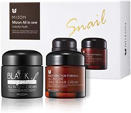 Korean Skin Care Set: All in One Snail Repair Cream and Black Snail All in One Cream (75ml) | Face Moisturizing with Snail Mucin Extract, Anti-wrinkles, Blemish Care and Firming Healing Plant Extracts