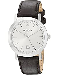 Unisex 96B217 Stainless Steel Watch with Brown Leather Band