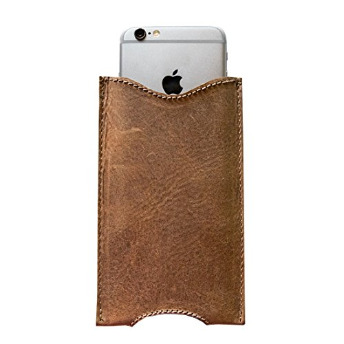 Hide & Drink Leather Handmade Sleeve for  iPhone 6 Plus - Bourbon Brown