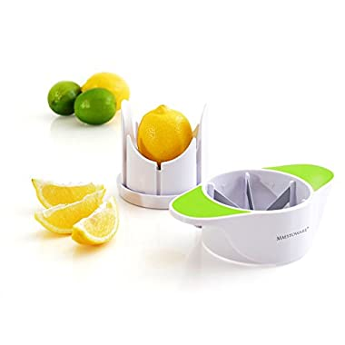 Maestoware Wedge Slicer Lemon Cutter - Cuts Lemons, Oranges, Limes & Other Citrus Fruits into Perfect Wedges - Simple to Use- Professional Quality
