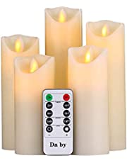 """Flameless Candles Da by 5"""" 6"""" 7"""" 8"""" 9"""" Set of 5 Realistic Dancing LED Flickering Wick for Parties,Home,Public Elegant Events, Battery Powered, 10-Key Remote Control, Ivory Color"""