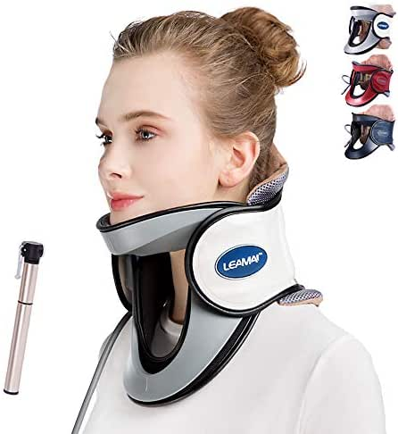 LEAMAI Newest Cervical Neck Traction Device - Adjustable Inflatable Neck Stretcher Collar for Home Traction Spine Alignment -(C03,White)
