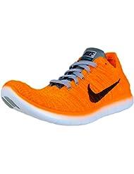 NIKE Womens Free RN Flyknit Sneaker Laser Orange/Gamma Blue/Cool Grey/Black-831070-800