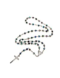 BODYA Bling Bling Multi Blue Beads Rosary Catholic Necklace Holy Soil Medal Crucifix Prayer Women Jewelry