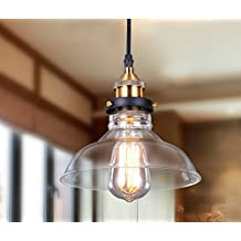 Lightess Rustic Pendant Light Industrial Hanging Ceiling Lamp Edison Lighting Fixtures with Glass Shade 1 Head (gold)
