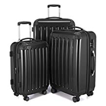 "HAUPTSTADTKOFFER Alex Double Wheel Luggage Set 18 different colors Suitcase Set Size (20'24'28') Trolley TSA (3 pcs/20""24""28"", Black)"