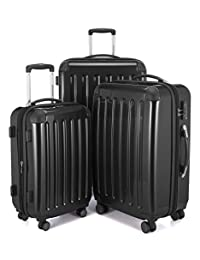 "HAUPTSTADTKOFFER Alex Double Wheel Luggage Set 18 different colors Suitcase Set Size (20'24'28') Trolley TSA (3 pcs/20""24""28"", Black)"