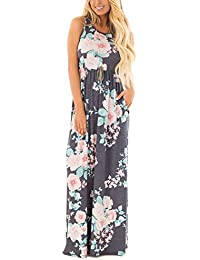 Women's Floral Print Sleeveless Tunic Maxi Dress Casual...