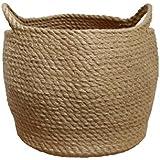 Jute Storage Baskets Dual Handles Storage Bin Basket...