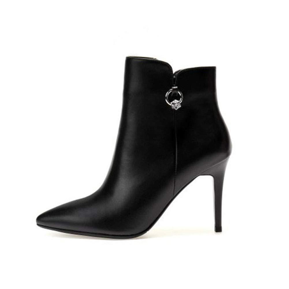 He-yanjing Damen Stiefel Herbst Leder Stiefelies spitz Stiletto Martin Stiefel Stiefel Stiefel Mode Strass high Heel Frauen Stiefel (Farbe   EIN, Größe   38) ad44f1