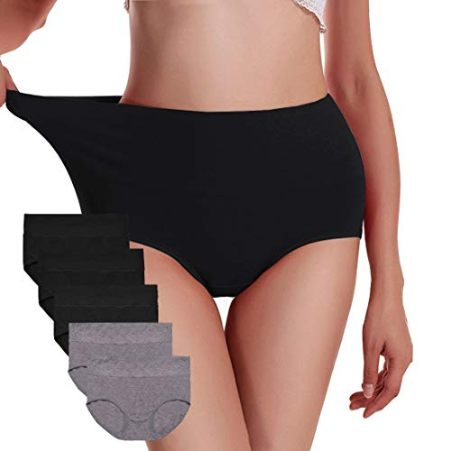 UMMISS Womens Underwear,Cotton High Waist Underwear for Women Full Coverage Soft Comfortable Briefs Panty Multipack