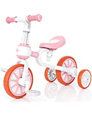 XJD 3 in 1 Kids Tricycle for 18 Month - 3 Years Old Boys Girls Baby Balance Bike Toddler Trike for Infant First Bike 4 Wheel with Adjustable Seat Detachable Pedal and Training Wheel