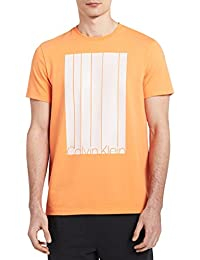Men's Short Sleeve Mesh Stripe Logo Crew Neck T-Shirt